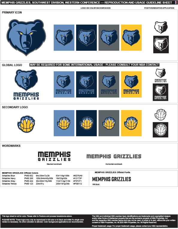 Memphis Grizzlies Colors Hex, RGB, and CMYK - Team Color Codes